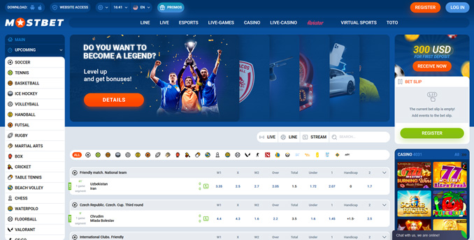 The homepage of Mostbet
